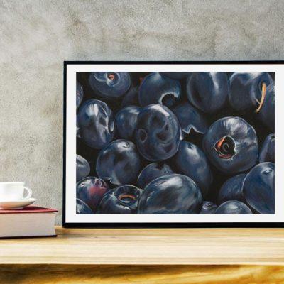 Maleri af blåbær til hjemmet - Heidi Berthelsen