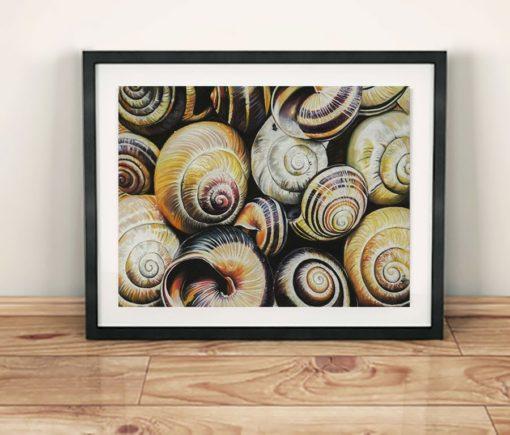 Maleri af sneglehuse - Heidi Berthelsen